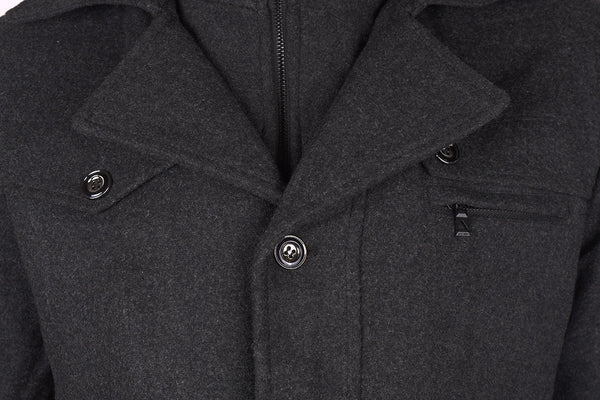 "Men's ""KASHILE"" Stylish Full Zipper Wool Jacket-Charcoal-MWC01"