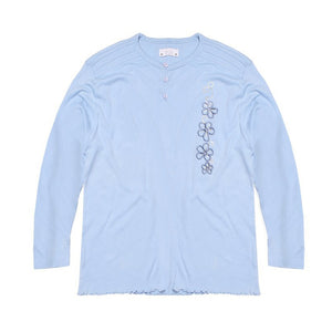 Aris Fleece Henely Blouse For Ladies-Light Sky-BE4915