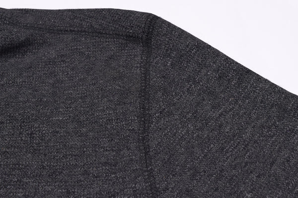 "Men's Cut Label ""Next"" Henley Thermal Shirt-Dark Gray-BE71"
