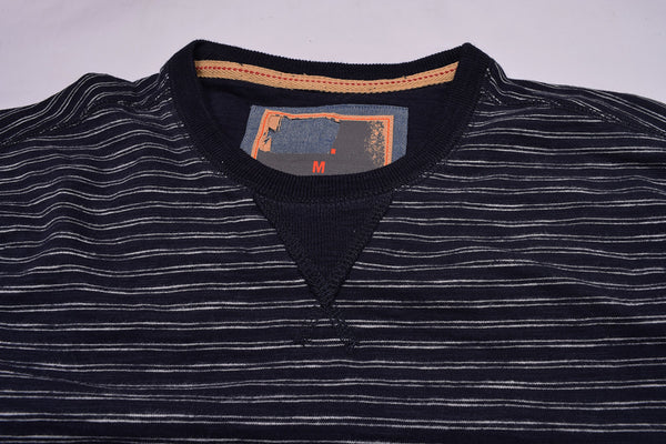 "Men's Cut Label ""Fat Face""Full Sleeve Jersy Striper Crew Neck Shirt-Dark Navy -HS85"
