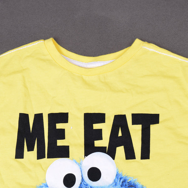Kids Me Eat Tee Shirt-Yellow-DK555