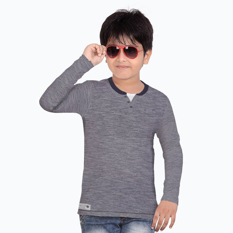 Next Henley Full Sleeve T Shirt For Kid-Blue Melange with Pocket Style-BE2139