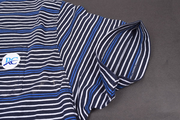 Men's  Cut Label George Stylish Tee Shirt-Navy-White-Blue Stripes-F005
