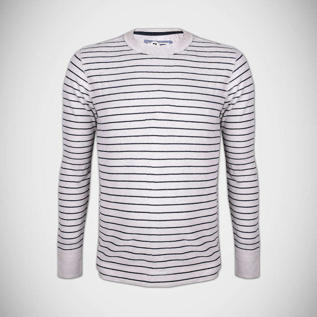 Next Thermal Crew Neck Shirt For Men Cut Label-Off White Black Striper-HS78