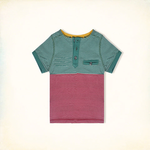 B Quality Next Half Sleeve Henley T Shirt For Kid Cut Label -Green & Pink Striped-BE2196