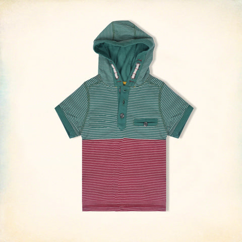 Next Half Sleeve Henley Hoodie T Shirt For Kid Cut Label -Green & Pink Striped-BE2197