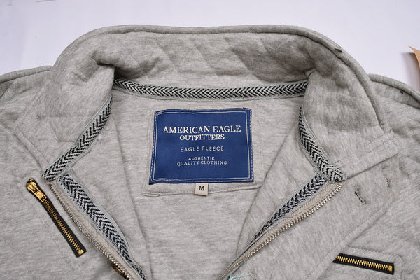 "Men's ""American Eagle"" Full Fashion Zipper Quilting Stylish Jacket- Gray Zipper Style-AEZJ21"