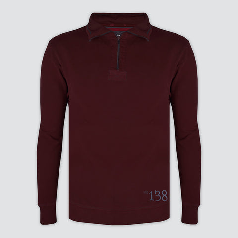 "Men's Cut Label ""Rautical Supply"" 1/3 Zipper Mock Neck-Dark Maroon - RS023"