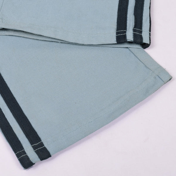 Adidas Cotton Trouser For Men-Bond Blue With Black Stripes-BE2379
