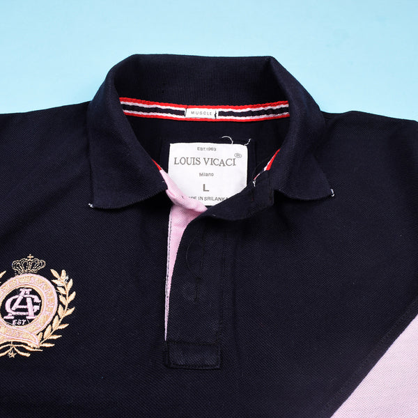 Mens Louis Vicaci Milano Muscel Fit Black & Pink Rugby Polo Shirts -RP30
