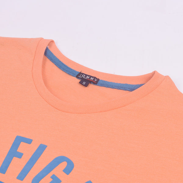 Tommy Hilfiger Crew Neck T Shirt For Men-Peach-BE2945