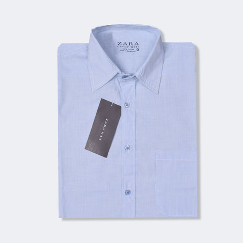 "Men's ""Zara"" Exclusive Check Cotton Shirt-White & Blue Lining-BE204"