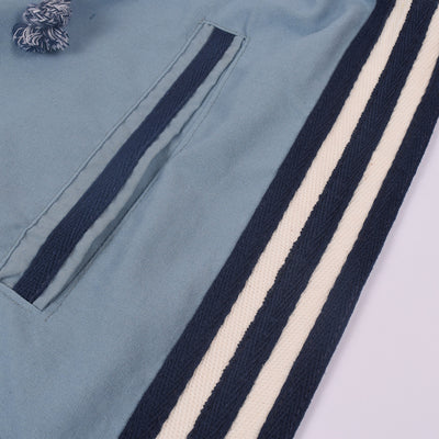 Adidas Cotton Trouser For Men-Bond Blue with White & Dark Navy Stripe-BE3167