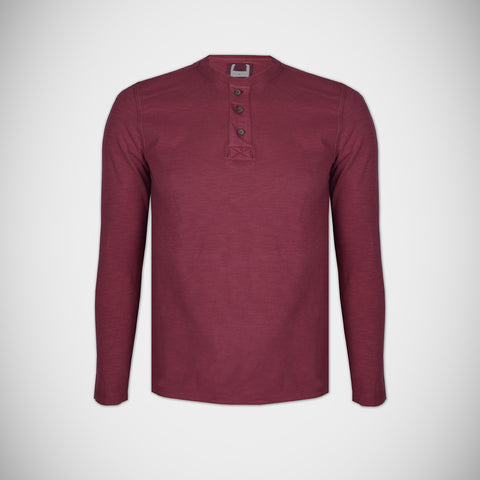 "Men's Cut Label ""Next""Full Sleeve Jersy Henley Shirt- Maroon-HS81"