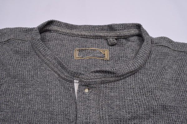 "Men's Cut Label ""Next"" Henley Thermal Shirt-Dark Gray-BE66"