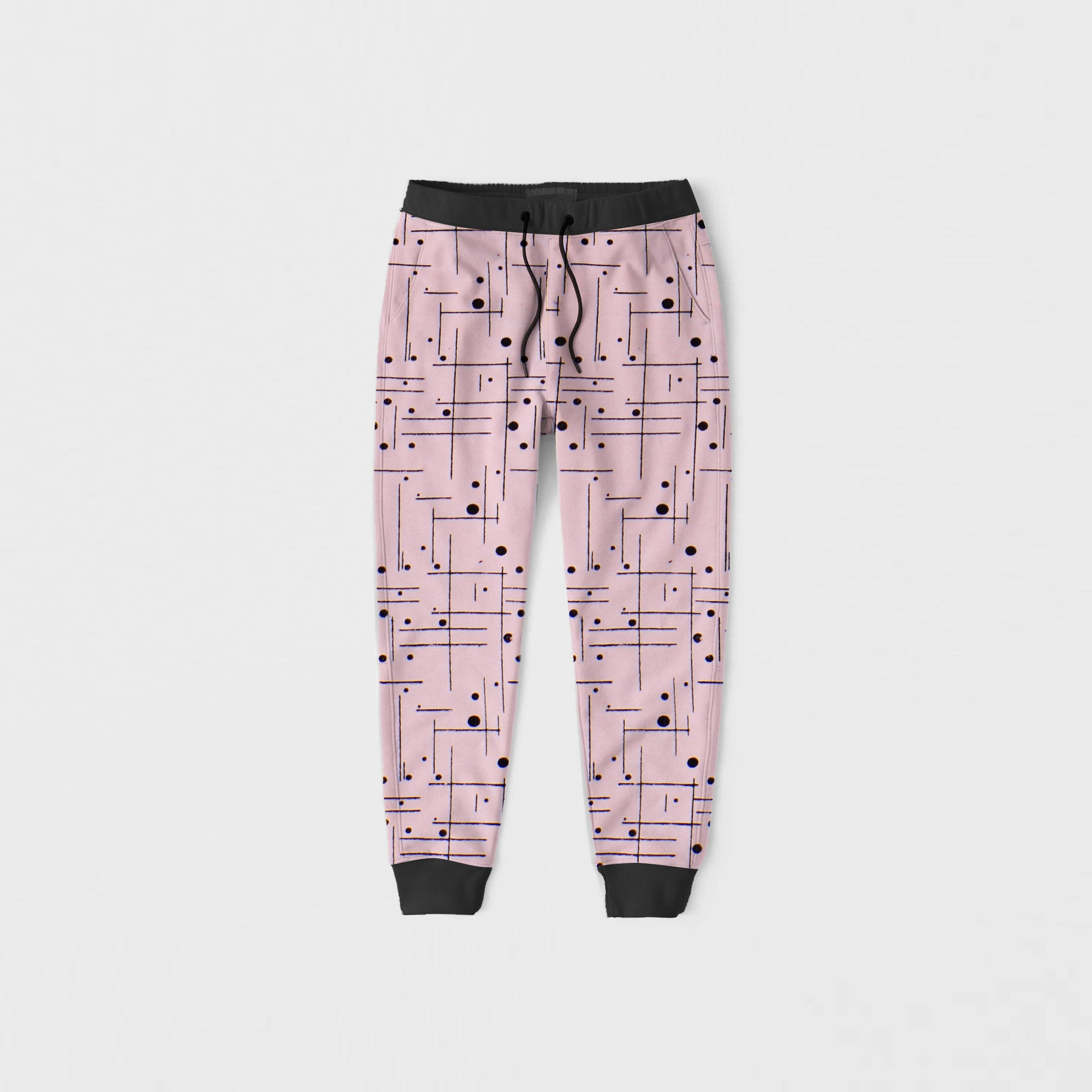 Drift King Slim Fit Terry Fleece Jogger Trouser For Kids-Pink With Allover Print-NA12468