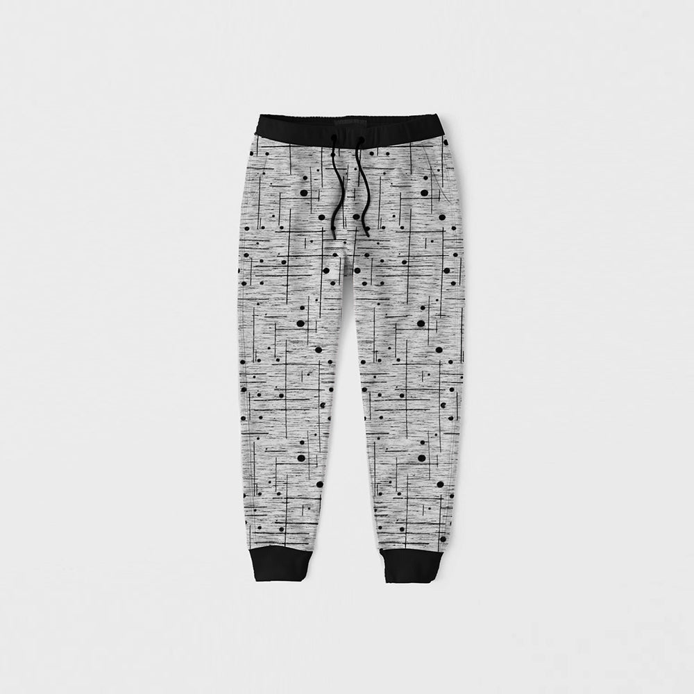 Drift King Slim Fit Terry Fleece Jogger Trouser For Kids-Grey With Allover Print-NA12486