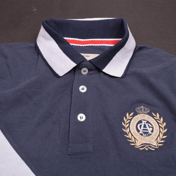 Mens Louis Vicaci Milano Muscel Fit Light Navy-White Rugby Polo Shirts -RP0001