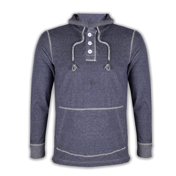 "Men's Cut Label ""Fat Face"" Henley Hoodie-Dark Navy Striper & White-SKH34"
