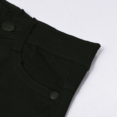 & Denim Slim Fit Denim For Kids-Dark Olive Green-NA10916