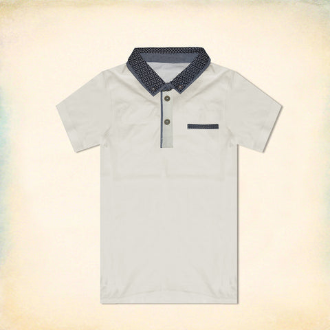 B Quality George Half Sleeve Polo Shirt for Kid-Off White-BE2199