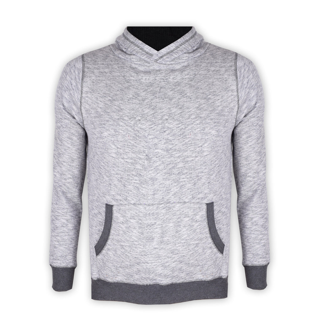 "Men's Cut Label ""Next"" Pullover Hoodie-Gray Melange-SKH37"