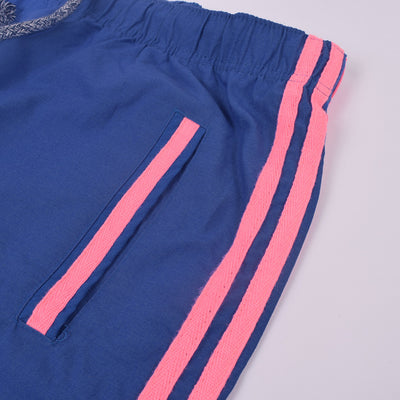Adidas Cotton Trouser For Men-Royal Blue with Pink Stripe-BE3169