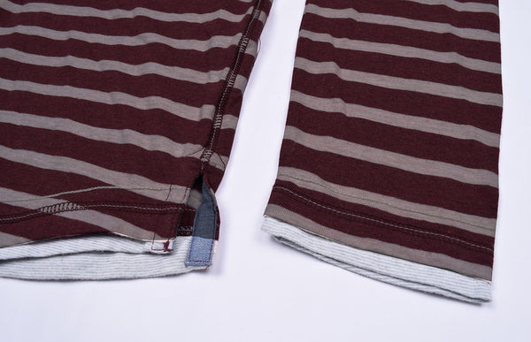 "Men's Cut Label ""Next"" Henley Hoodie-White & Dark Maroon Striped-BE152"