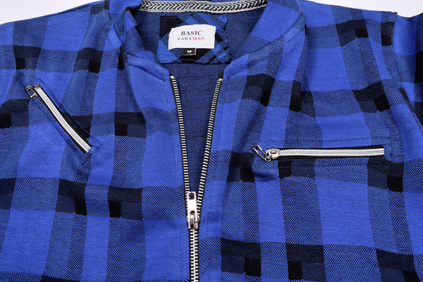 "Men's ""ZARA"" Full Sleeve Fleece Baseball Jacket-Blue & Black Chek-BE387"