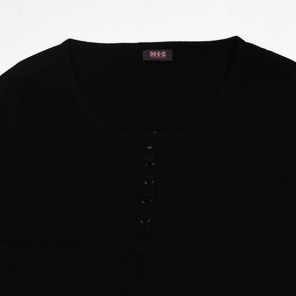 "Ladie's ""H.I.S"" Stylish Henley Blouse-Black-BE209"