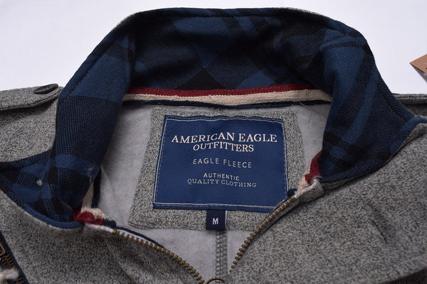 "Men's ""American Eagle"" Full Fashion Zipper Fleece Stylish Jacket- Peach Gray Zipper Style-AEZJ52"