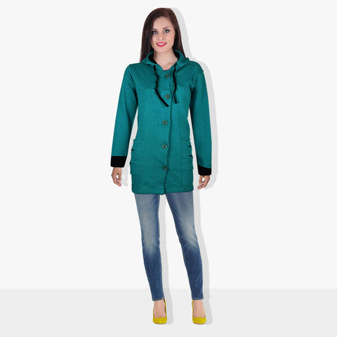 "Ladie's ""COCO"" Stylish Trench Long Coat Cyan Green-LTC17"