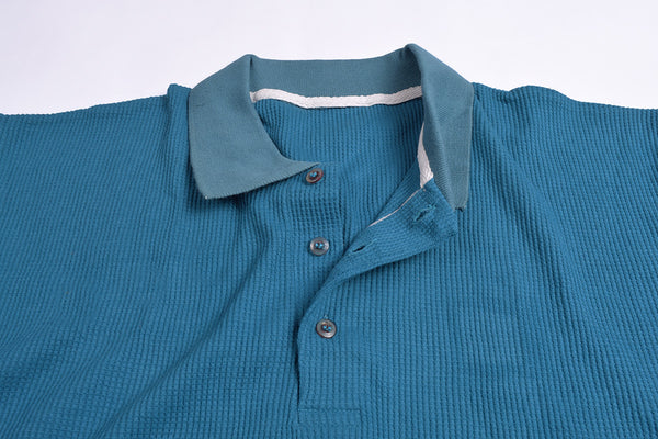 "Men's Cut Label ""NEXT"" Thermal Polo Shirt-Turquoise-BE459"