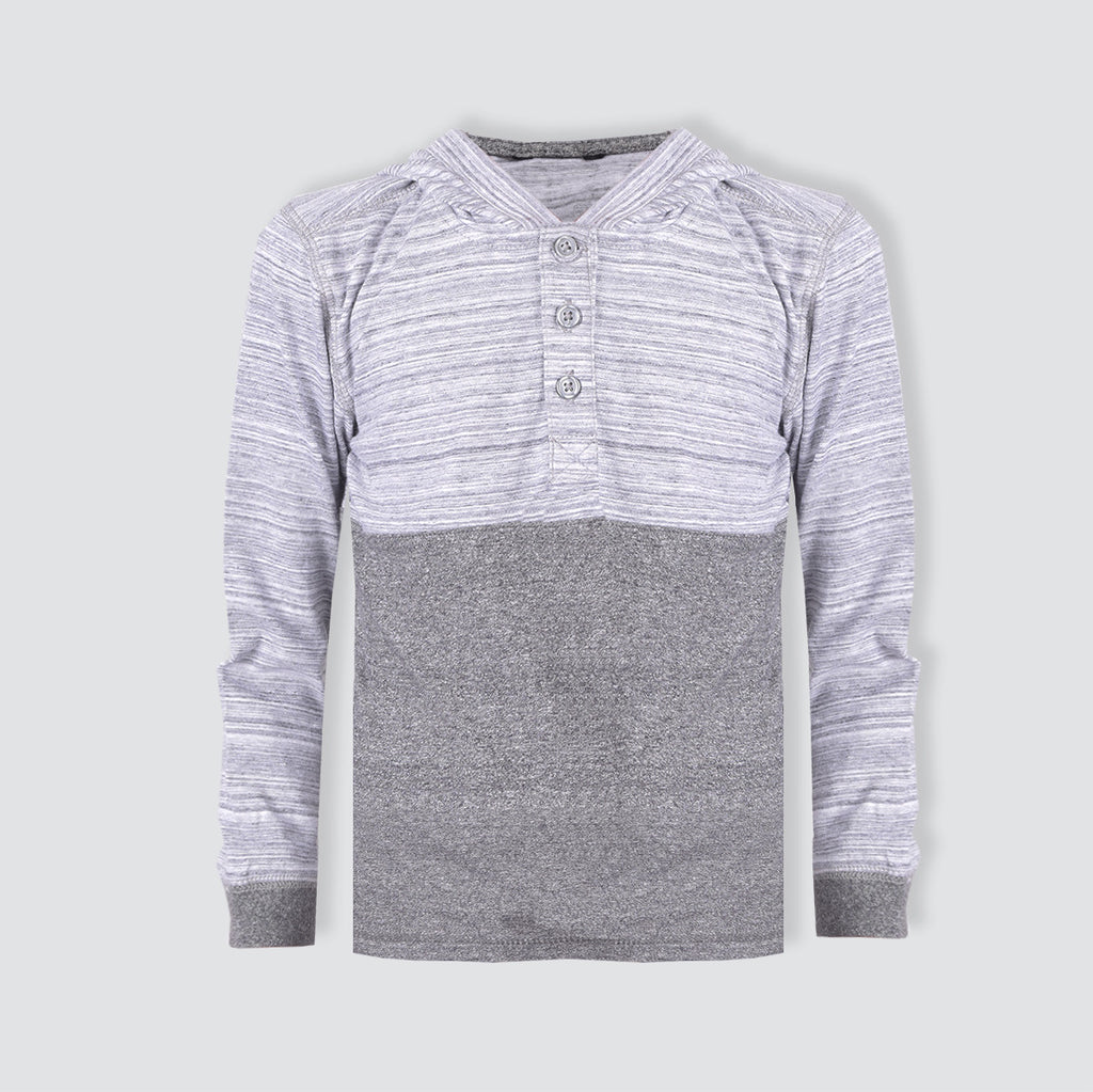 "Kids Cut Label ""Next"" Henley Hoodie-Gray & Charcoal melange-KTS10"