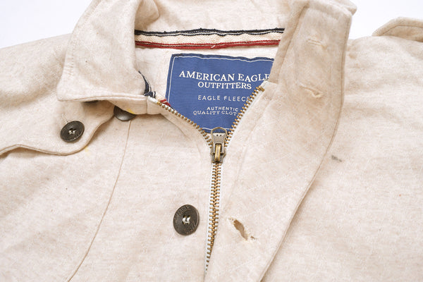 "Men's ""American Eagle"" Full Fashion Zipper Fleece Stylish Jacket-Cream-AEZJ10"
