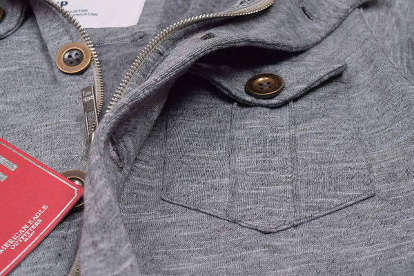 "Men's ""American Eagle"" Full Fashion Zipper Fleece Stylish Jacket- Light Gray Melange Pocket Style-AEZJ81"