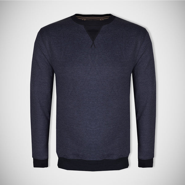 "Men's Cut Label ""Next"" Crew Neck Fleece Sweatshirt-Light Navy Melange-BE16"
