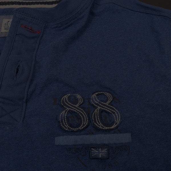 "Men's Cut Label ""Next"" Short Sleeve Henley Shirt-Blue Melange-(NRSPS15)"