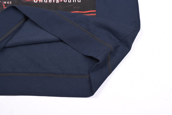 "Exclusive Men's Cut label ""George"" Printed Sweat Shirt -Navy-(902)"