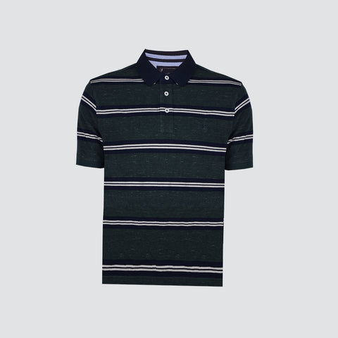 NEXT Polo Shirt For Men Cut Label-Dark Green Striped-BE694