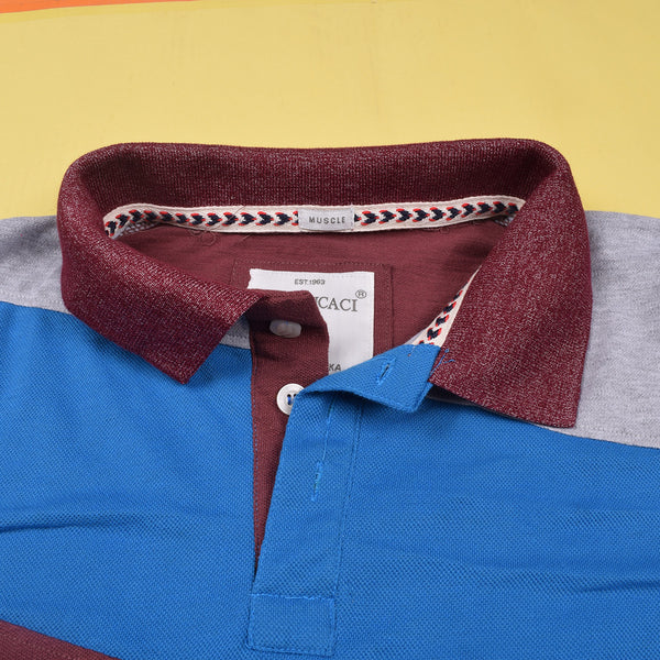Mens Louis Vicaci Milano Muscel Fit Gray-Blue & Burgundi Melange Rugby Polo Shirts -RP41