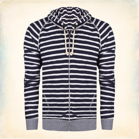 "Men's Cut Label ""NEXT"" Stylish Striper Zipper Hoodie-Black & White -BE654"