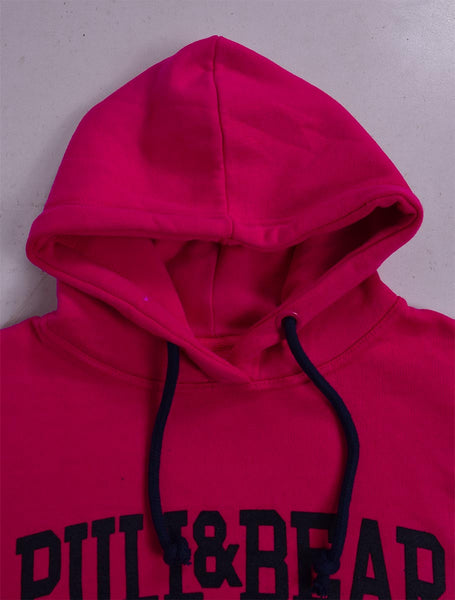 "Men's ""Pull & Bear"" Pull Over With Flog Hoodie-Pink-617"