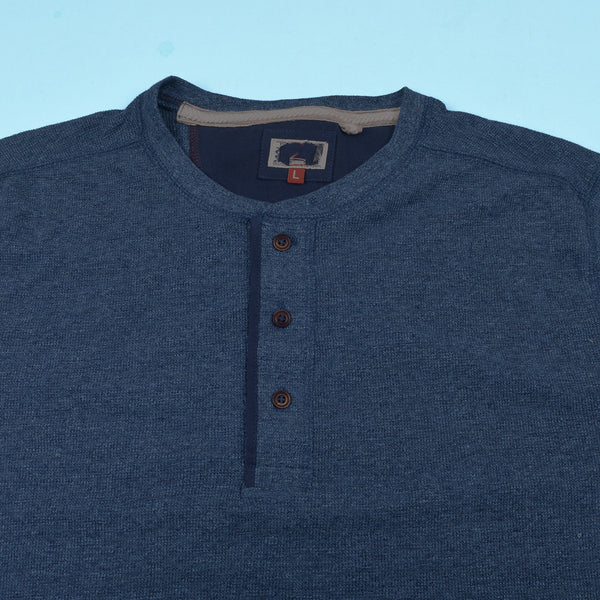"Mens ""Next"" Cut Label Henley Shirts-Blue Melange-CN07"