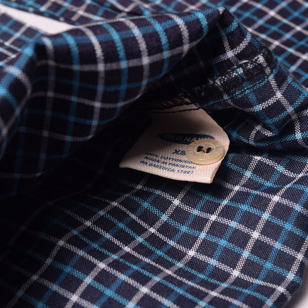 Old Navy Exclusive Casual Shirt-Dark Navy & Blue Lining Check-ONCS03
