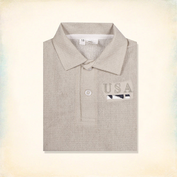 B&G Polo Shirt For Kids-White Cambric-BE206
