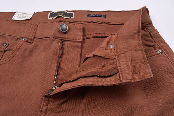 "Men's "" Outfitters "" Stylish Strech Cotton Denim-Burnt Umber-ND16"