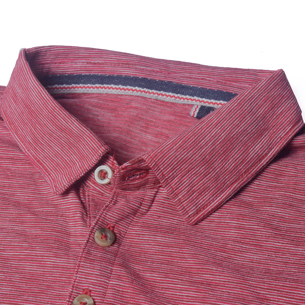 F&F Polo Shirt For Men With Pocket Style Cut Label-Red Melange-BE2473