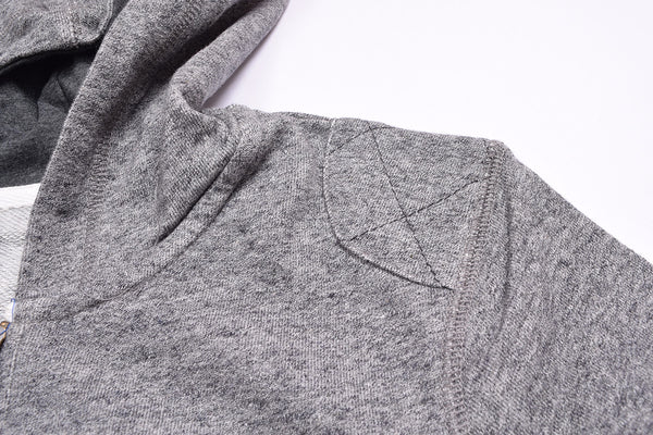 "Kid's Cut Label "" Fat Face "" Zipper Hoodie-Gray Melange-KH0111"