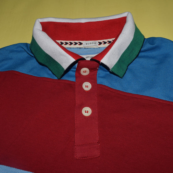 Mens Louis Vicaci Milano Muscel Fit Sky-Red & Green Rugby Polo Shirts -RP48